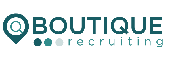 White background with teal writing of Boutique Recruiting logo